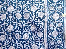5Yard Indigo Dabu Handmade Cotton HandBlock Print Art Craft Fabric With Border V