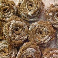 Hessian and Lace Roses Weddings Cakes Vintage Shabby Chic x 10