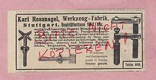 STUTTGART, Werbung 1908, Karl Rossnagel Werkzeug-Fabrik Schraub-Zwingen Spindeln