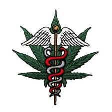 Medicinal Marijuana Serpent Patch Symbol Pot Leaf Medical Weed Iron On Applique