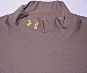 Mens EUC Brown UNDER ARMOUR TACTICAL L/S Thermal Compression Shirt size L