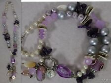 Statement Chunky Oversized mixed necklace with amethyst beads