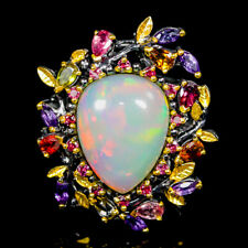 Super Top AAA12ct+ Natural Opal 925 Sterling Silver Ring Size 9/R120119