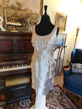 BEAUTIFUL MOTHER OF THE BRIDE OR GROOM SILVER FLAT RUFFLE DRESS SHEATH SIZE 6