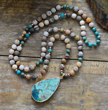Hand Beaded Necklace long Lariat Gold Boho Beads Turquoise Geode Wooden Druzy