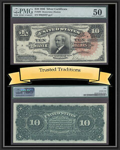 "TT FR 294 1886 $10 SILVER CERT ""TOMBSTONE"" SCARCE LARGE RED SEAL PMG 50 POP 2"
