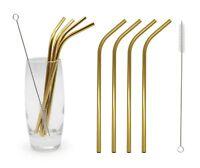 Eco-Friendly Reusable Stainless Steel Straws Brush Set Bent Metal Straws Gold