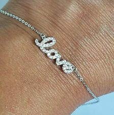 .35 carat Woman's 14k white Gold love chain Bracelet 7-8 Inches Long adjustable