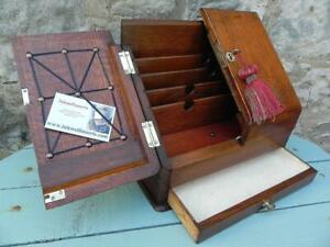 An Antique Writing / Stationery Box. Oak & Brass Lock & Key (346)