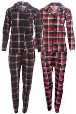 Damen Pyjama 2-teilig Schlafanzug Langarm Oberteil Lange Hose Kariert Top Preis