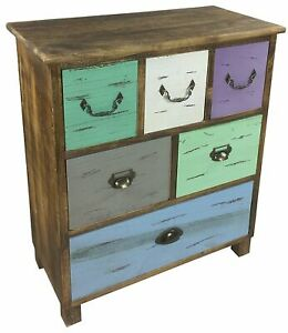 Free Standing Rustic Wooden Storage Cabinet Bedroom Cupboard With 6 Drawers 69cm