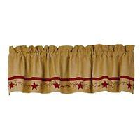 New Primitive Country RED APPLIQUE STAR BERRY VINE Cotton Burlap Curtain Valance