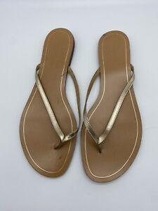 Banana Republic gold leather sandals thong flip flops size 10