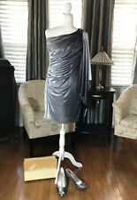 Gray One Shoulder Cocktail Dress W/Matching Shoes NWT Size 4 Wedding Prom Dance