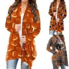Halloween Women Pumpkin Sweater Long Sleeve Cardigan Casual Pullover Jumper Tops