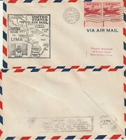 US 1948 FAM 34 FIRST FLIGHT FLOWN AIR MAIL COVER HOUSTON TEXAS TO LIMA PERU