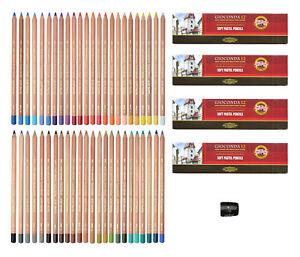 48  Pastellkreide Stifte + Anspitzer Pastellkreiden KOH-I-NOOR Pastellstifte