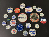 Lot of 22  Vintage Round Pins ~ Pinback Button Pins ~Political Republican