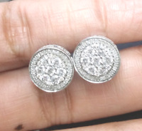 Deal! 1.60CT NATURAL ROUND DIAMOND CLUSTER HALO STUDS EARRINGS IN 14K GOLD 11MM