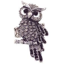 Jewelry Black Halloween Party Vtg Design Owl Bird Night Cocktail Ring Costume