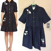 Kate Spade Women's Floral Embroidered Denim Shirtdress Jean Dress Sz 12