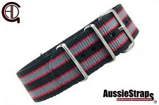 "20mm1.5mm thick nato Style ""GOLDFINGER"" Nylon Watch Strap watch Band Blk/red/gre"