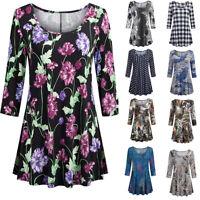 Fashion Womens Regular Floral Print Shirts 3/4 Sleeves O-Neck Tunic Blouse Tops