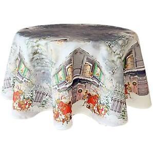 Tischdecke Rund 130 cm Weihnachtsmann WEIHNACHTEN pflegeleichte Weihnachtsdecke
