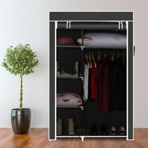 Portable FABRIC CANVAS WARDROBE WITH HANGING RAIL SHELF CLOTHES STORAGE CUPBOARD