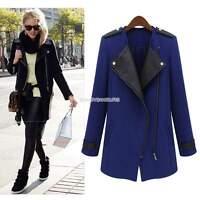 Warm Women warm pu Leather Lapel Collar Trench Parka long Jacket coat outwear EN