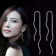 Fashion Women 925 Sterling Silver Chain Link Drop Dangle Stud Threader Earrings