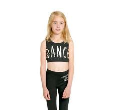 PINEAPPLE DANCEWEAR GIRLS Black Sleeveless Crop DANCE Vest Top with Silver Foil