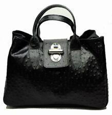 NUOVA borsa donna bauletto vera pelle stampa struzzo nero nera con tracolla