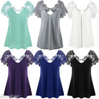NEW Womens Sexy Loose T-Shirt Plus Size Short Sleeve Lace Tops Blouse Basic Tee
