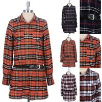 Plaid Print Button Down Belted Tunic Top Dress Long Sleeve Chest Pocket S M L
