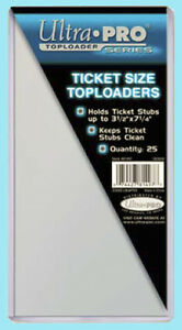 """25 Ultra Pro TICKET SIZE 3.5"""" x 7.25"""" TOPLOADERS NEW 3-1/2 x 7-1/4 stub currency"""