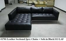 2PC Modern Contemporary black Leather Sectional Sofa #1701 (short version)