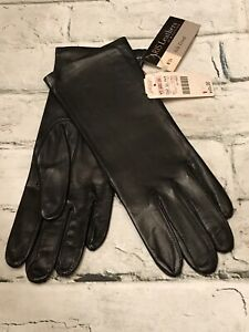 "FAB! Vintage Aris by Isotoner Black Leather Silk Lining 10.5""L Gloves Sz 6.5 NEW"