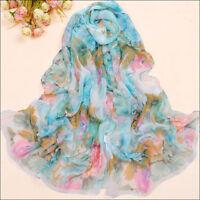 New Fashion Chiffon Long Wrap Shawl Beach Scarf - Blue pink flowers