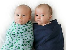 Finn and Emma Organic Muslin Swaddle Blanket Set - Solid Blue & Robot Green