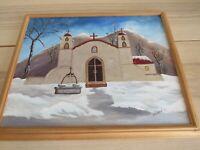 Mission Church California Folk Art painting Signed Hanna