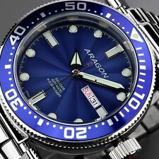 ARAGON Men's 50mm Diver Automatic Stainless Steel Bracelet Watch NEW