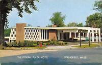 Springfield Massachusetts~Federal Plaza Motel~1950s Cars~Station Wagon~Postcard