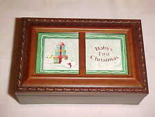 Cottage Garden baby's first christmas music wood jewerly photo box jingle bells