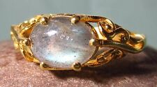 Gold plated brass everyday labradorite stone ring UK Q½-¾/US 8.75