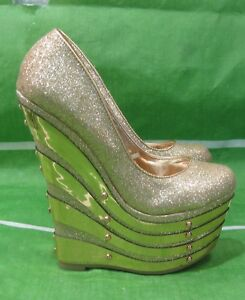 """New Gold 6.5""""High Wedge Heel 2.5""""Platform Round Toe Sexy Shoes WOMEN Size 6.5"""