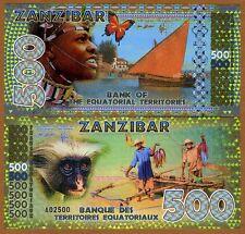 Equatorial Territories, Zanzibar 500 E Francs POLYMER 2015, UNC > Monkey