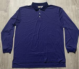 Men's LL Bean Long Sleeve Polo Shirt Purple Stripes XL Tall Item 0DD79