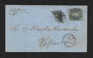 CHILE SC# 10 + BISECT COLON FROM COPIAPO COVER 1855