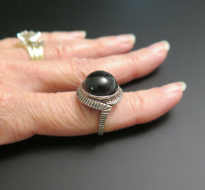 STERLING SILVER BLACK ONYX DOME RING 6.5